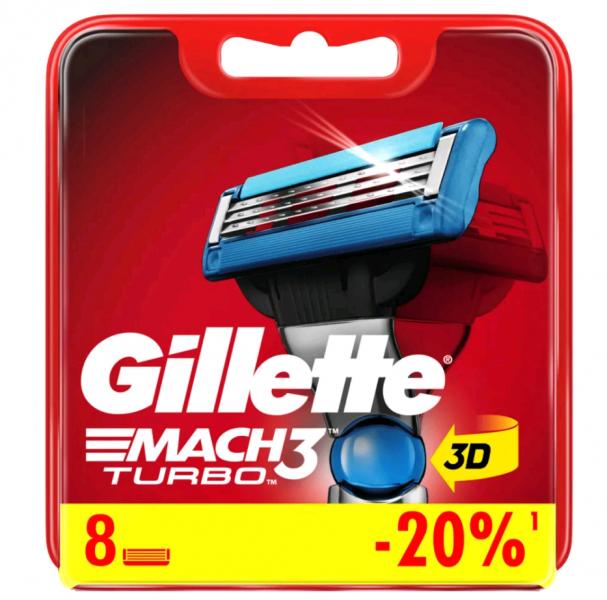 Gillette (P&G) Gillette Mach 3 Turbo Кассеты для станков мужские 8 шт.