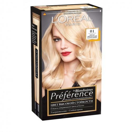 Loreal Preference Стойкая краска для волос №01светло-светло русый натуральный