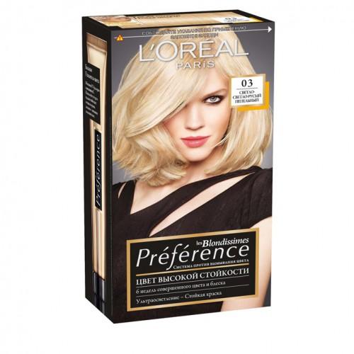 Loreal Preference Стойкая краска для волос №03 светло-светло русый пепельный
