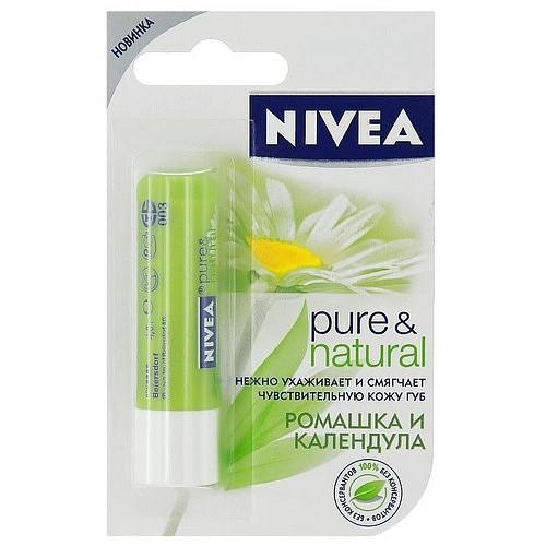 Nivea Pure & Natural Бальзам для губ 4,8 г. ромашка и календула