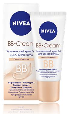 """Nivea Bb Cream Увлажняющий тональный крем 5-в-1 """"идеальная кожа"""" 50 мл. светло-бежевый"""
