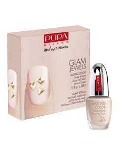Pupa Nail Art Kit Glam Jewels Набор: Лак для ногтей + украшения №001 gold jewels