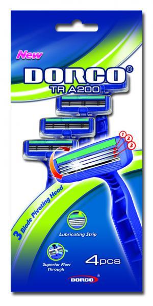 Dorco Tra-200 Одноразовый станок для бритья с 3 лезвиями мужской (tra200-4p) 4 шт.
