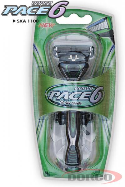 Dorco Pace6 Green Станок для бритья с 6 лезвиями, 2 кассеты, мужской (sxa 1100)