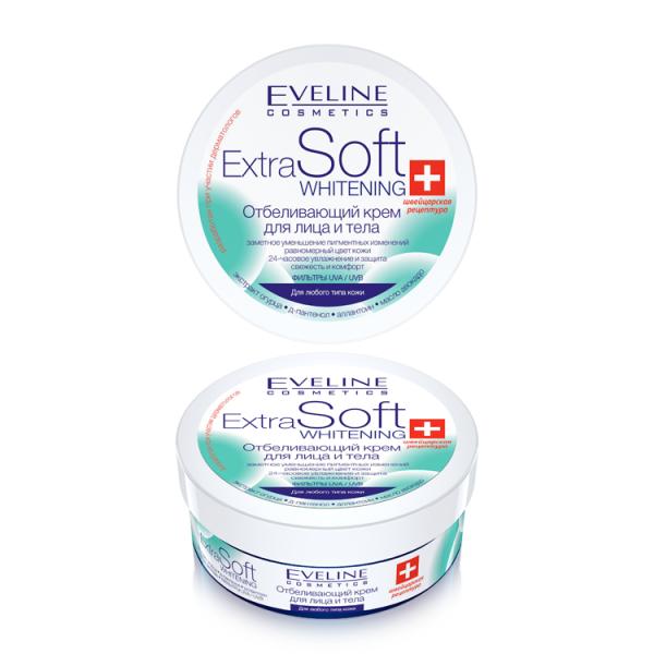 Eveline Extra Soft Whitening Отбеливающий крем для лица и тела 200 мл.