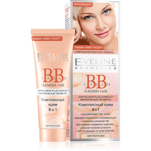 Eveline Blemish Base Комплексный крем 6в1 для светлой кожи лица 50 мл.